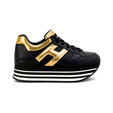 a9fc6481f2c Hogan Maxi H222 Sneakers in Leather Black Gold, Womens, Size: 36.:  Amazon.co.uk: Clothing
