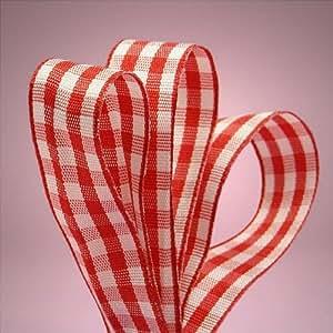 "Red Gingham Ribbon, 5/8"" X 25Yd"