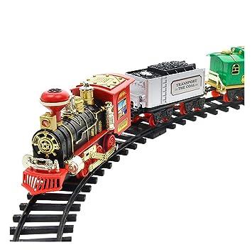 Bloomma Juego de Juguete Electric Orbit Track Train, Traje de Tren de Vapor clásico Recargable con Luces de auténtico Humo y Kit de construcción de Sonidos ...