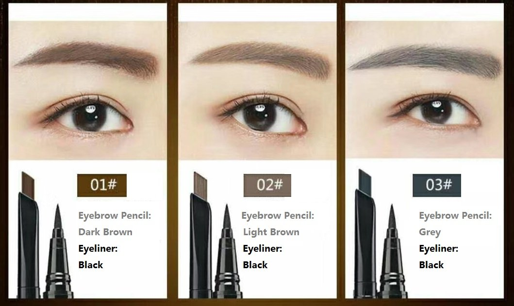 Amazon.com : Tailisha Nicebelle DDK Set of 2 Eyeliner pencil & Eyebrow pencil, Cold Waterproof, Anti-Sweat, Warm Water Washable Eyeliner (Dark Brown ...