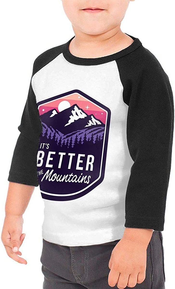 Its Better in The Mountains Kids Jersey Raglan T-Shirt Children 3//4 Sleeve Baseball Shirt Top