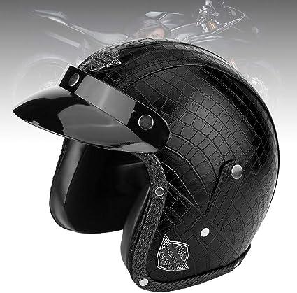 M-Coccodrillo Nero mezzo casco da moto universale in pelle PU aperto Casco da moto