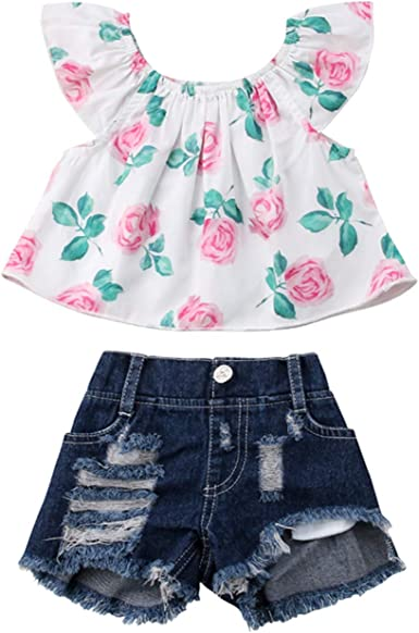 Toddler Baby Kids Girl Casual Ruffle Floral Print Dress+Solid Short Pant Outfits
