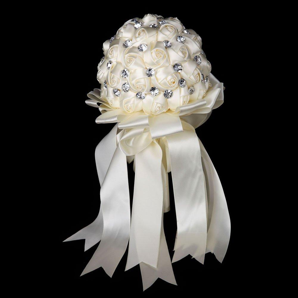 Cristallo Satin Rosa nuptiale di damigella d' onore di Matrimonio Bouquet Di Fiori Decorazione, Bianco, Bianco FAYBOX BRIDAL