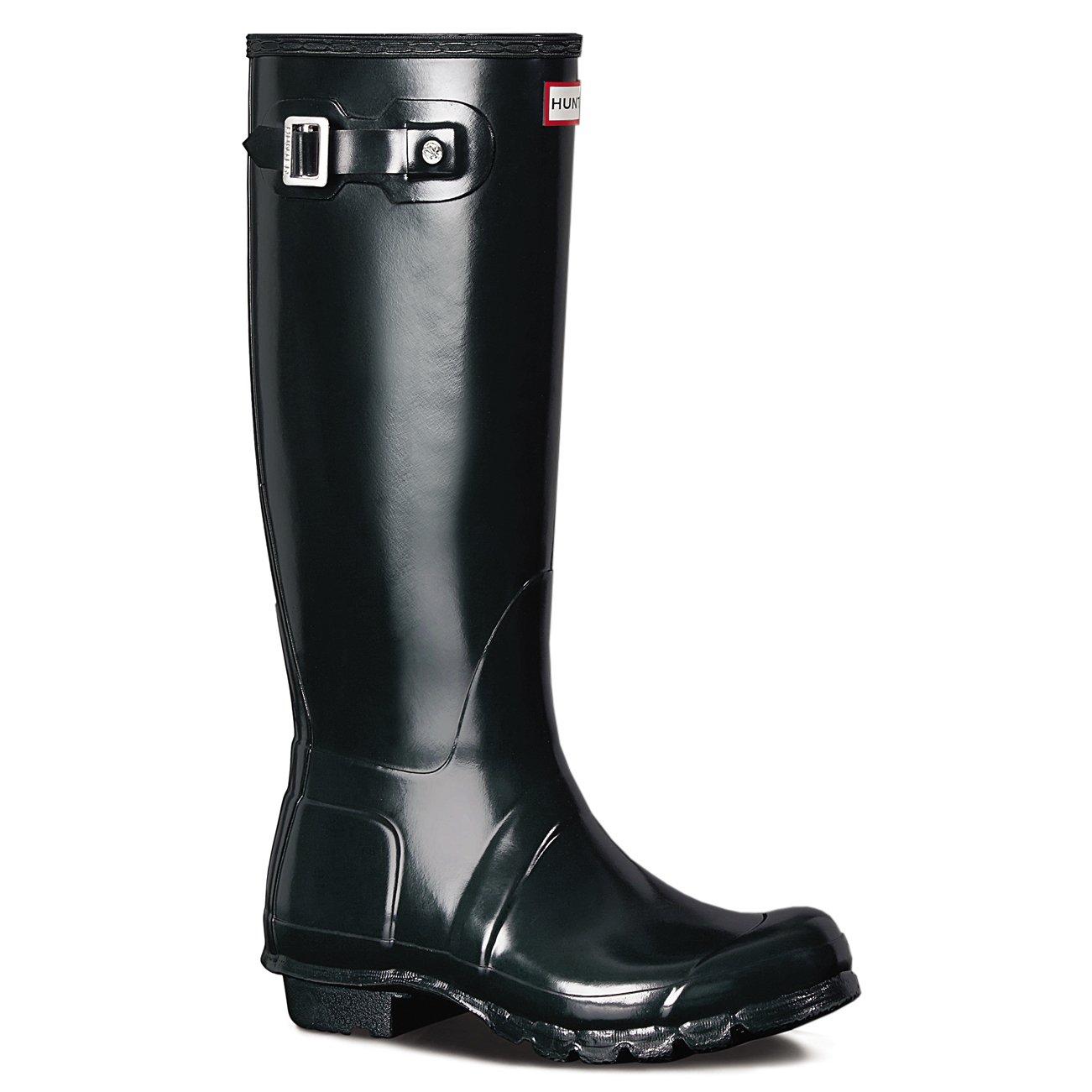 Hunter Womens Original Tall Gloss Waterproof Wellington Winter Rain Boot - Ocean - 8