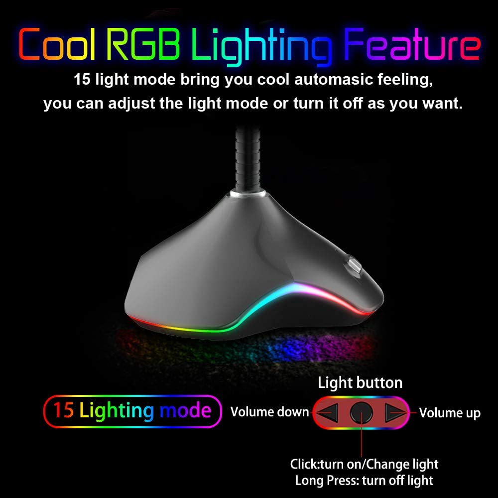 USB Computer Microphone Omnidirectional PC Mic with Mute Button RGB Light -Compatible with Windows Mac PS4 VersionTECH Ideal for Recording Podcasting Gaming Skype Youtube Streaming Volume Control