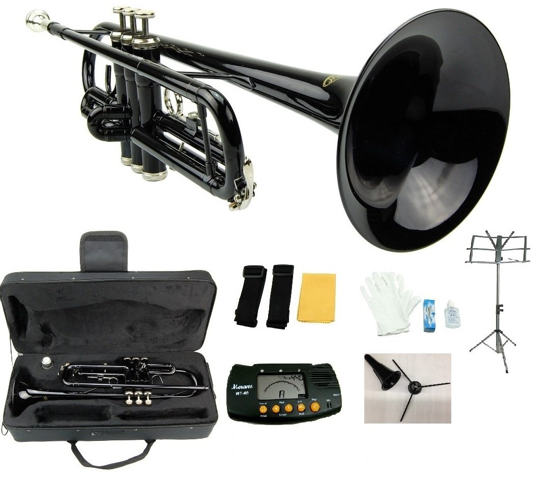 Merano B Flat Black / Silver Trumpet with Case+Mouth Piece+Valve Oil+Metro Tuner+Black Music Stand+Trumpet Stand by Merano