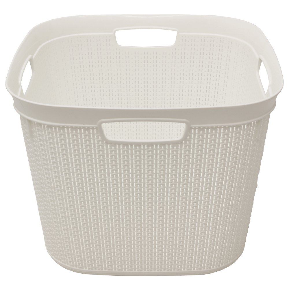 JVL Knit Design Loop Plastic Square Linen Washing Basket with Handles, White, 43 x 43 x 33 cm, 41 Litres 13-351WH