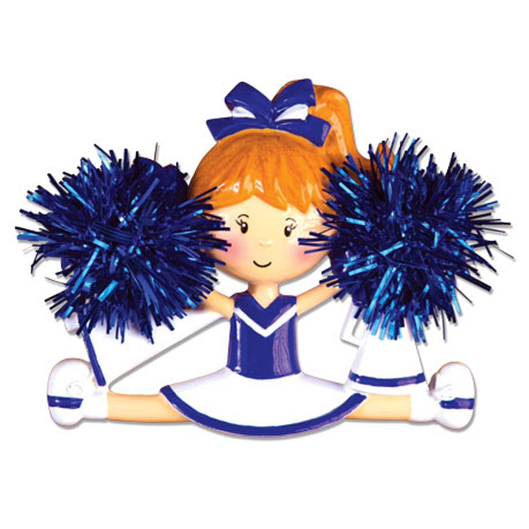 Personalized Cheerleader Christmas Ornament for Tree 2018 - Girl with Real Pompom Split - Competition Cheer Team Dancer High School Loud Proud Holiday Brunette Blonde - Free Customization (Blue)