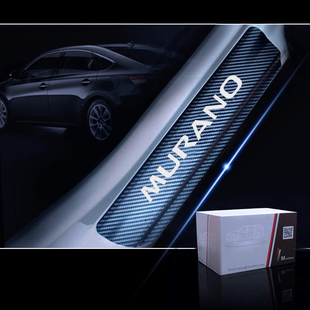 for Nissan Murano Door Sill Protector Reflective 4D Carbon Fiber Sticker Door Entry Guard Door Sill Scuff Plate Stickers Auto Accessories 4Pcs Blue