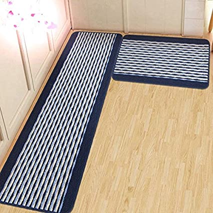 Ustide Kitchen Rug Set Kitchen Floor Rug Washable Floor Runner Stripe Pattern Floor Runner Rugs Non Slip Washable Bath Mats Water Absorption Toilet