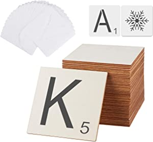 ilauke 66 Unfinished Wood Pieces - 36 pcs 5 inch Blank Square Wood Pieces, 30 Letters and Snowflake templates, Perfect for Scrabble and Letters Wall Decor
