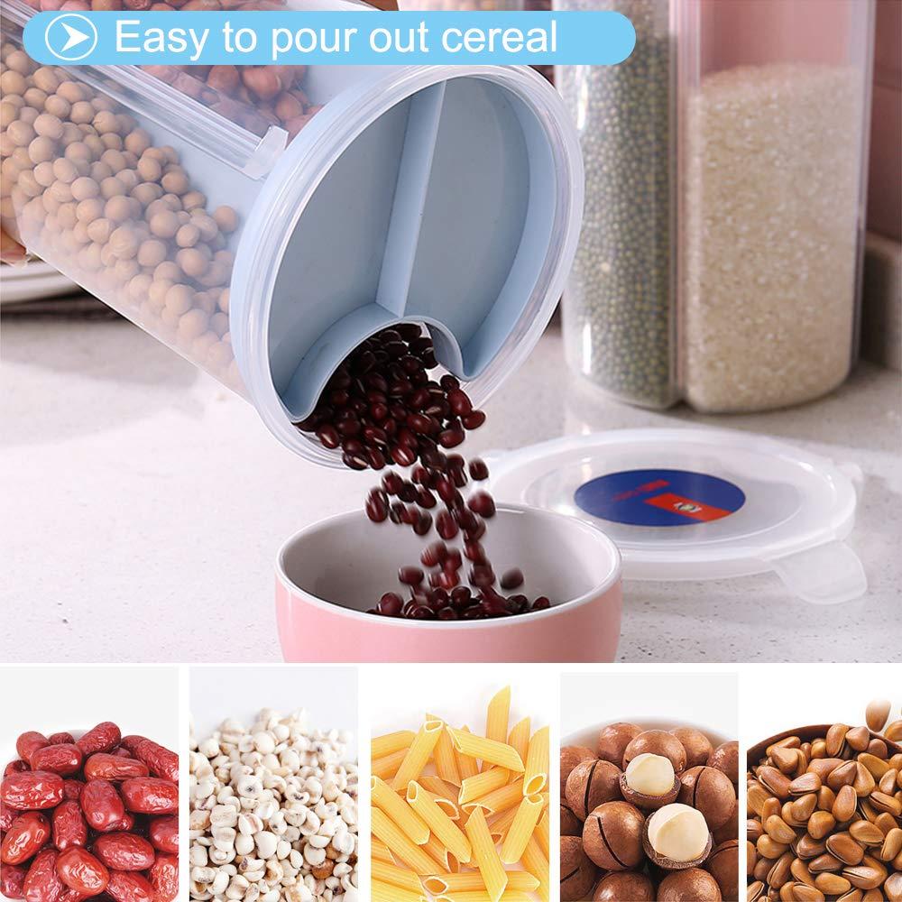 Boite Cereales Boite Hermetique Alimentaire Rangement Stockage Pot Farine 4 Cloison Pratique Durable Transparent Etanche Sans BPA S/écuritaire pour C/ér/éales Riz Farine P/âtes Noix Grains /Épices Rose