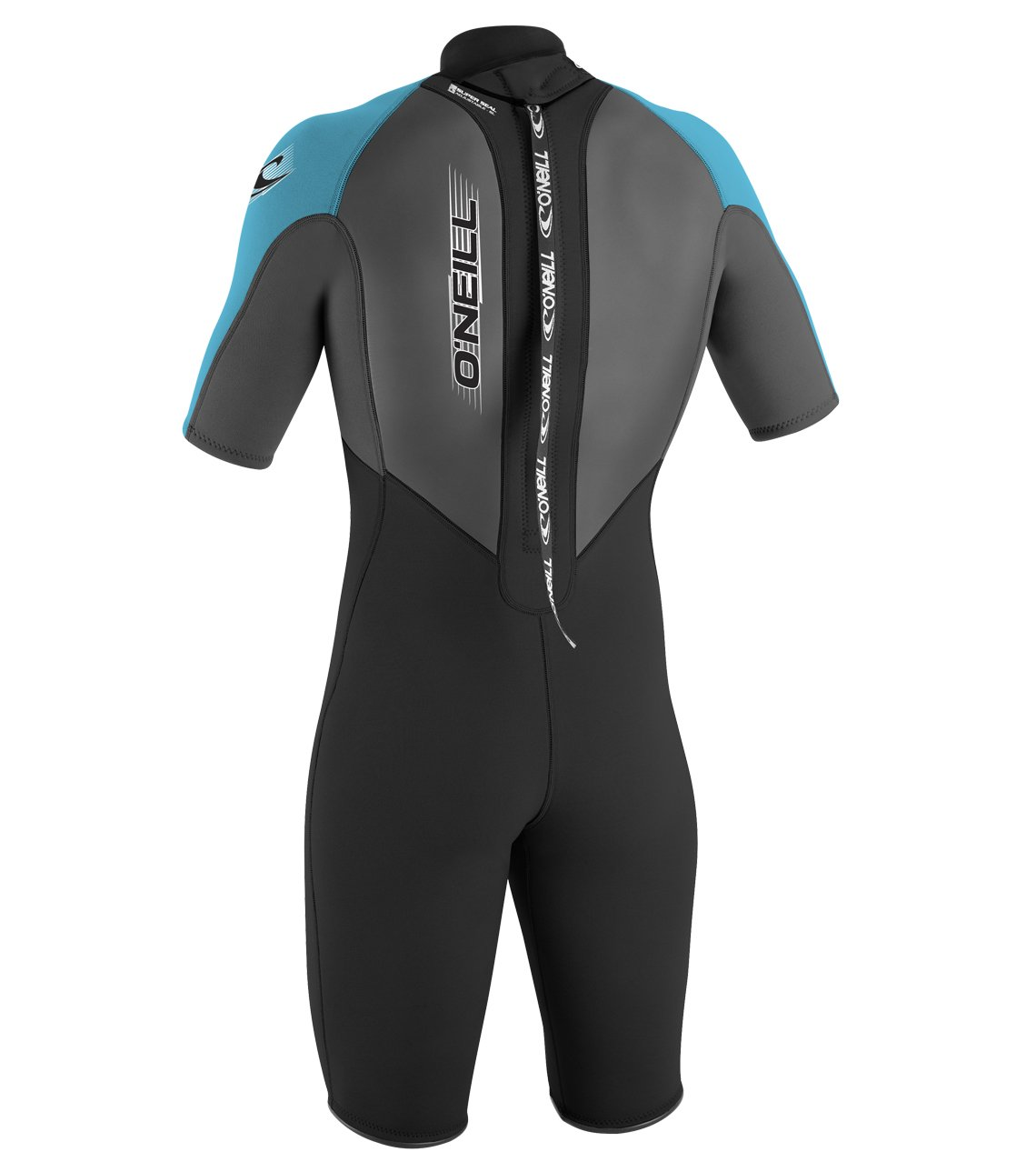 O'Neill Youth Reactor 2mm Back Zip Spring Wetsuit, Black/Graphite/Turquoise, 4 by O'Neill Wetsuits (Image #2)