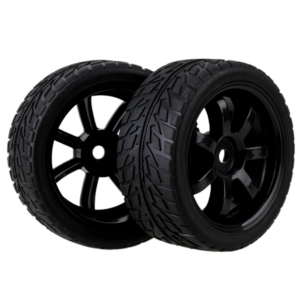 Mxfans 12mm Hex Black 7 Spoke Plastic Wheel Rims /& Flame Pattern Rubber Tyres Tires for RC 1:10 On Road Racing Car Pack of 4