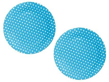Lote de 100 Platos Desechables de Cartón Azul con Lunares Blancos. Vajillas y Cuberterias.