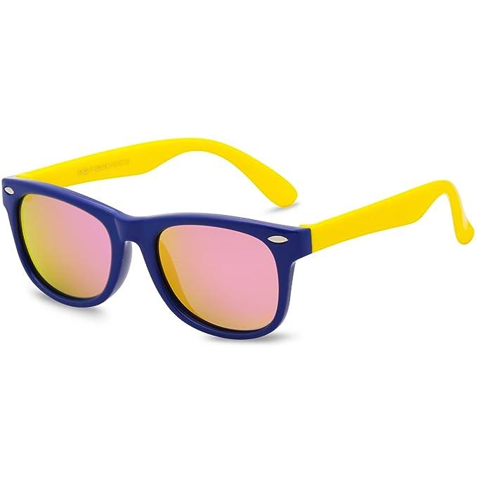 3695bd680d SojoS Kids Lentes De Sol Niños Y Niñas Wayfarer Marco Flexible Lentes  Polarizadas UV400 Gafas SK205