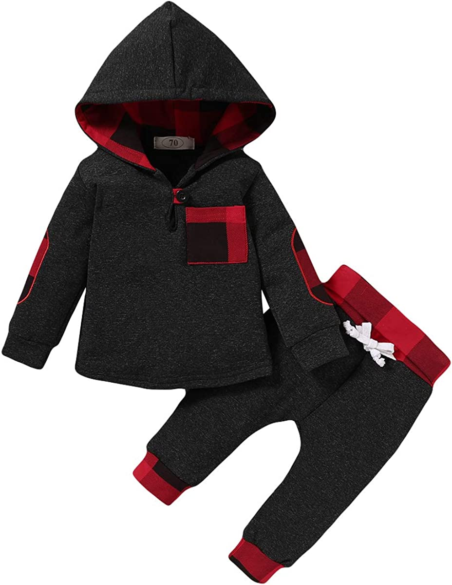 Baby Boy Clothes Fall Outfits Plaid Pocket Hoodie Sweatshirt + Pants Winter Clothes Set: Clothing