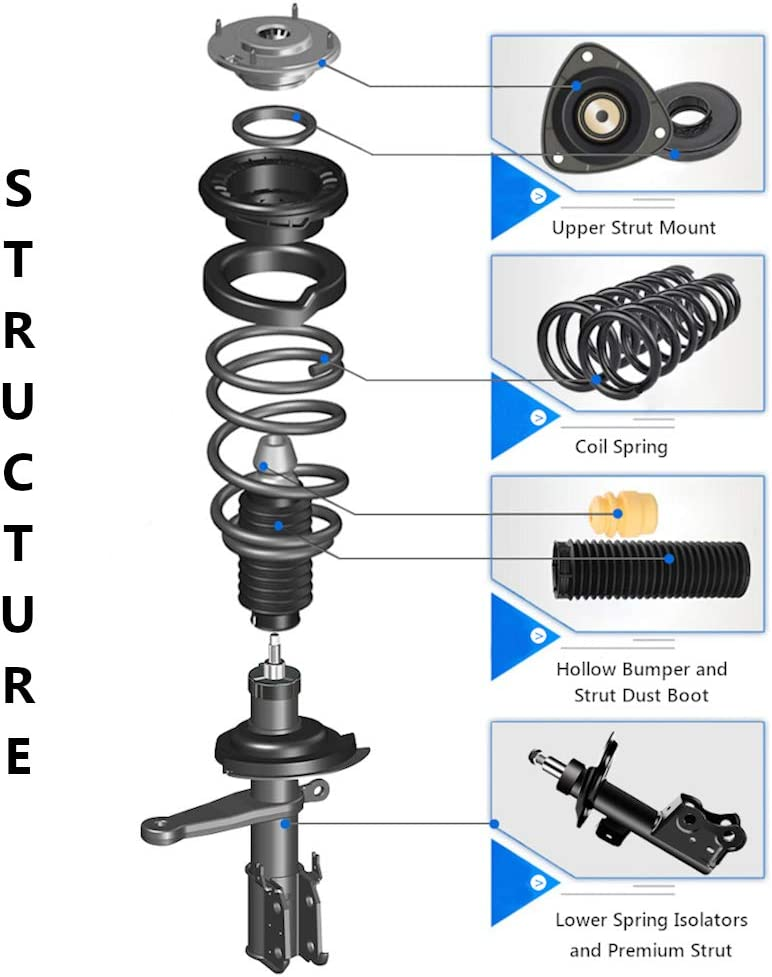 Front Pair Struts Shocks /& Coil Spring Assembly for Dodge Caliber 2007-2012 Jeep Compass 2007-2010 Jeep Patriot 2007-2010 Complete Struts