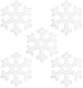 Cosaving 5 PCS 12 Inch Snowflakes Hanging Christmas Tree Ornaments Silver Tinsel Xmas Wall Window Decoration Outdoor Party Decor Supplies, 12x12 inch, White Glitter Snowflakes
