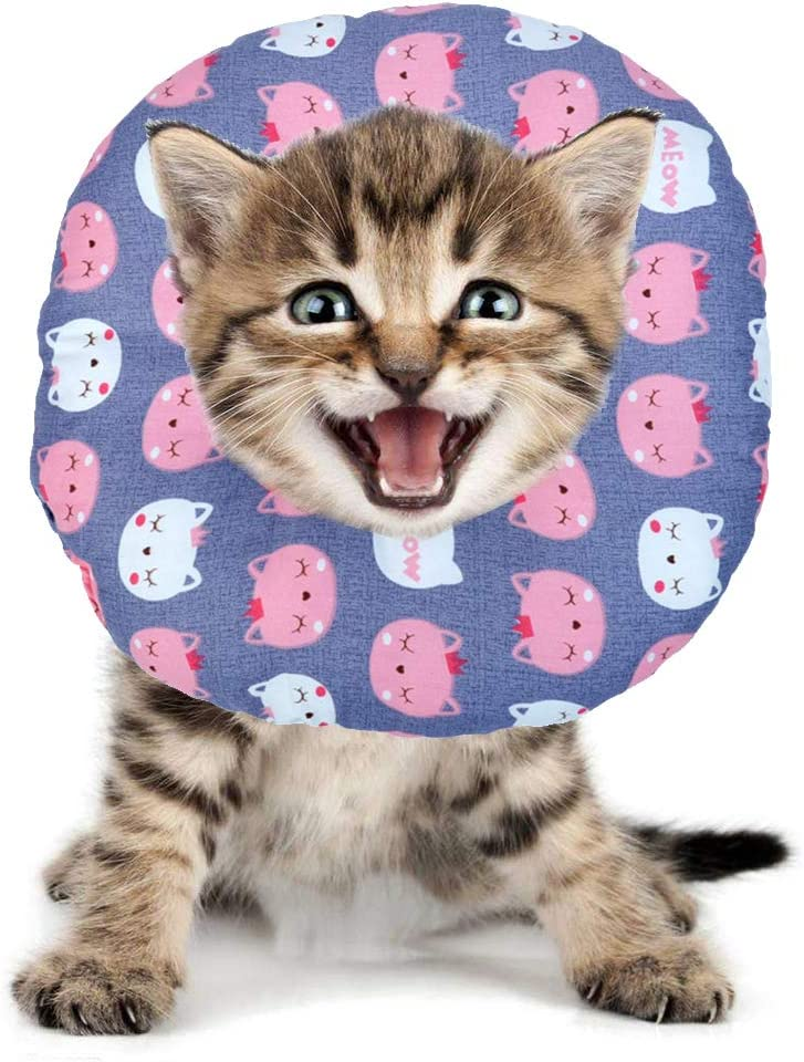 BVAGSS Mascota Collar Recuperación Cuello Blando Ajustable para Perros y Gatos XH004 (S, Grey Cat)