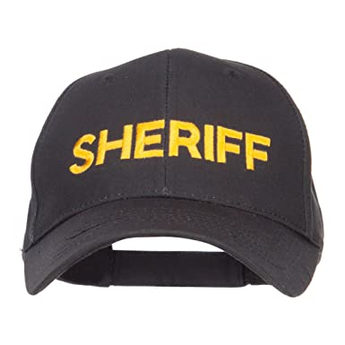 b797bbe4adc E4hats Sheriff Embroidered Military Cotton Cap - Black OSFM at ...