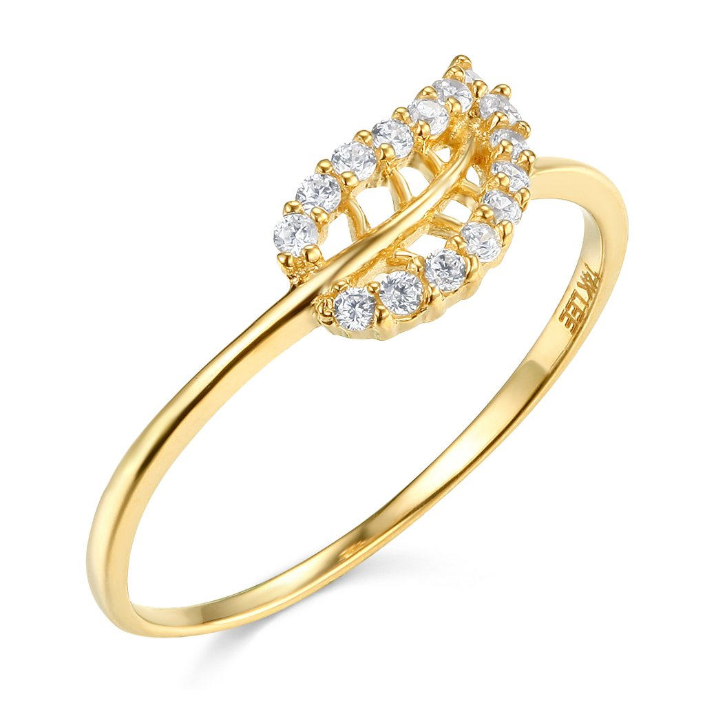 14k Yellow Gold SOLID Leaf Ring - Size 7.5