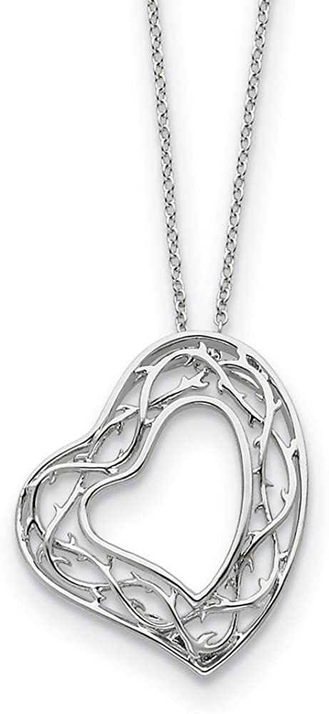 925 Sterling Silver Amazing Love 18in Heart Pendant Necklace Charm Chain 18