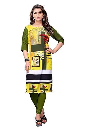 d22cc054da8 Belomoda Yellow And Mehendi Color Heavy American Crepe Fabric 3 4 sleeve Round  Neck Digital Print Kurti For Women  Amazon.in  Clothing   Accessories