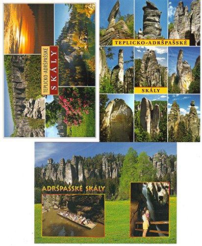 Postcards (3): Tepliko Adrspasske Skaly, Sandstone Rock Formations, Bohemia, Czech Republic ()