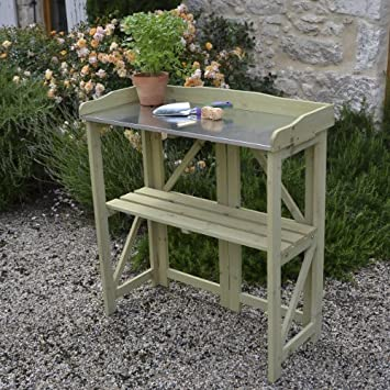 Folding Potting Table/Bench In Light Sage Colourwash   Gift For The Gardener