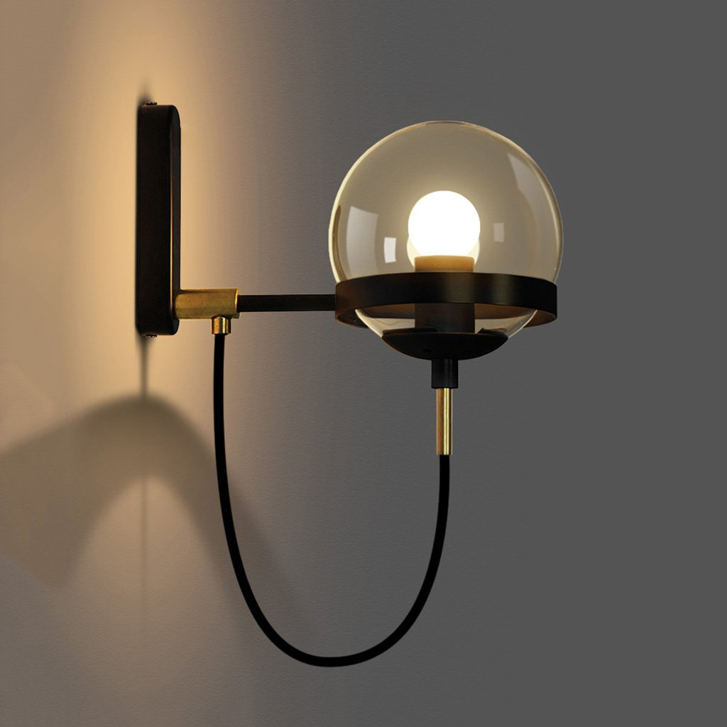 Bedside lamp Hotel lobby concise retro modern American restaurant cognac glass ball bronze circle wall lamp Home DecorationA+