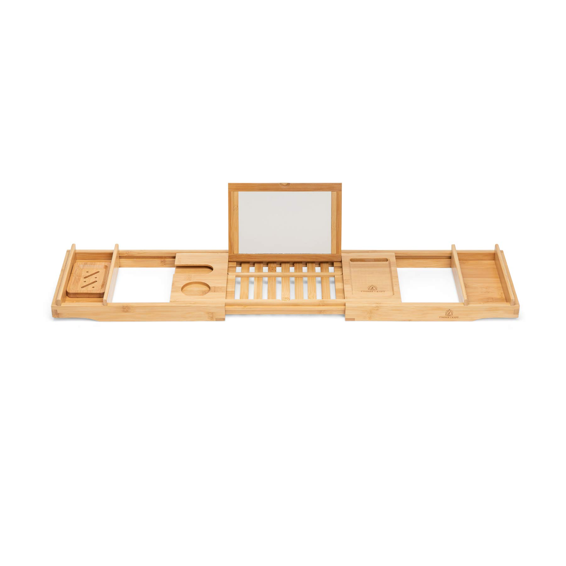 Timbercraft Premium Bamboo Bathtub Caddy Tray with Mirror & Free Soap Dish - Supreme Luxury - Water & Mildew Resistant by Timbercraft (Image #4)