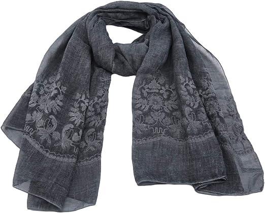 LnLyin Bufanda de algodón para Mujer, diseño de Chal, algodón, Gris, 200 * 90cm: Amazon.es: Hogar
