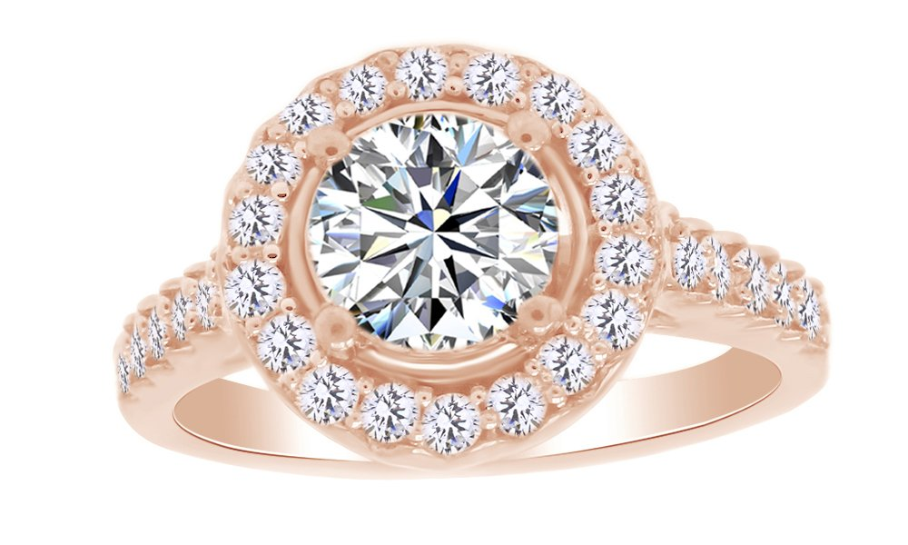 Natural Diamond & White Moissanite Halo Wedding Engagement Ring 14K Rose Gold Over Sterling Silver (1 Cttw) Ring Size-4.5