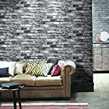 "HaokHome 69092 PVC Vinyl Vintage Faux Brick Wallpaper Black for Home Bar Wall Decoration Wall Paper 20.8"" x 393.7"""