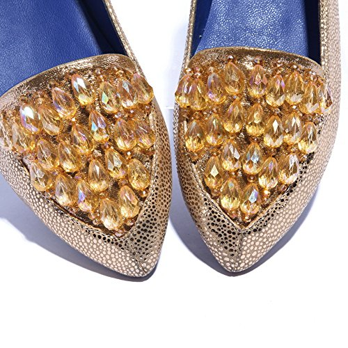 Voguezone009 Donna Punta A Punta Chiusa Senza Tacco Pelle Di Pecora Pu Scarpe Con Motivo Leopardo Oro