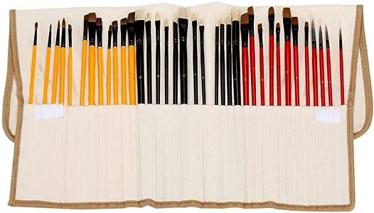 Womdee Art - Juego de pinceles de pintura con estuche de nailon para envolver, 36 piezas, acrílico/aceite/acuarela, kit de pinceles para adultos / niños / estudiantes / principiantes / artistas profesionales: Amazon.es: Hogar