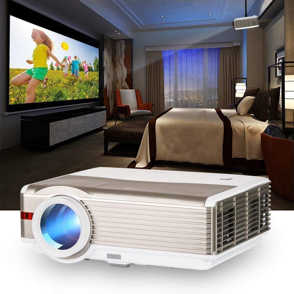 プロジェクター LED 5000lm 1080PフルHD対応1920×1200最大解像度 重低音スピーカー内蔵 USB×2/HDMI×2/AV/VGA/3.5mmイヤホンジャック対応 高輝度ホームプロジェクター iPhone/DVD/ラップトップ/スマホ/タブレット/ゲーム機など接続可 B07MXCNJ89 HDプロジェクター LED 重低音スピーカー内蔵