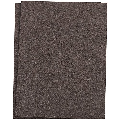 SoftTouch Self-Stick Furniture Felt Sheet for Hard Surfaces to Cut into Any Shape (2 pack) - Brown, 4-1/2
