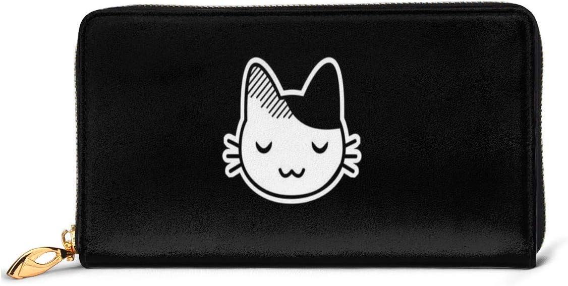Cute Kitty Cartera de piel auténtica cartera larga cartera de metal con cremallera cartera elegante para hombre de gran capacidad multifunción