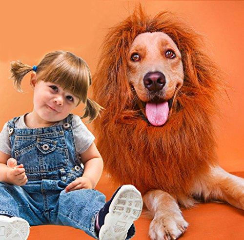 [BubbyBear Dog Lion Mane Wig Costume,Funny Dog Halloween Christmas Festival Photo Shoots Costume Winter Warm Scarf Dog Lion Wig with Tail] (Lion Dog Halloween Costumes)