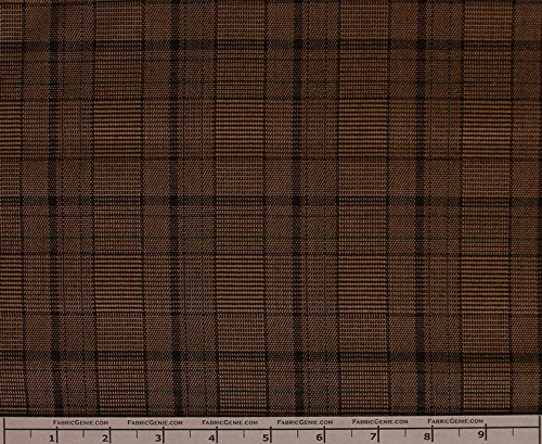 Gordon Poly Rayon Plaid Stretch Suiting Fabric, Stretch Suiting Fabric, Suiting Fabric-BROWN/GREEN (Brown Suiting)