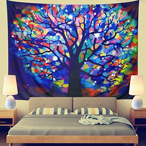 Leofanger Tapestry Colorful Tree Tapestry Wall Hanging, used for sale  Delivered anywhere in USA