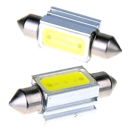 Lote de 2 bombillas LED tipo fusible para matrícula de coche (39 mm, 1