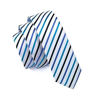 caofenvoo hombre corbata hh-047 azul color blanco Jacquard Tejido ...