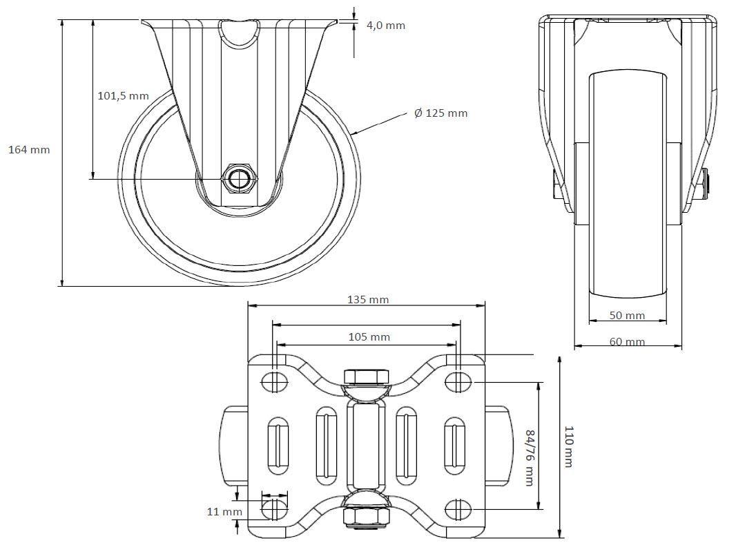 2 Bockrollen 125 mm PU//ElastikSchwerlast Rollensatz 2 Lenkrollen mit Feststeller