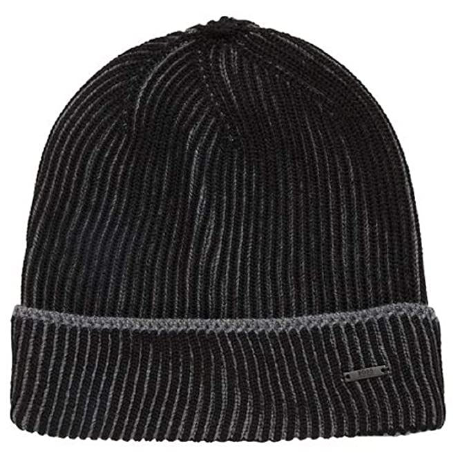 0462c9cdfad642 Image Unavailable. Image not available for. Color: Hugo Boss Knitted in  Two-Tone Virgin Wool Beanie hat