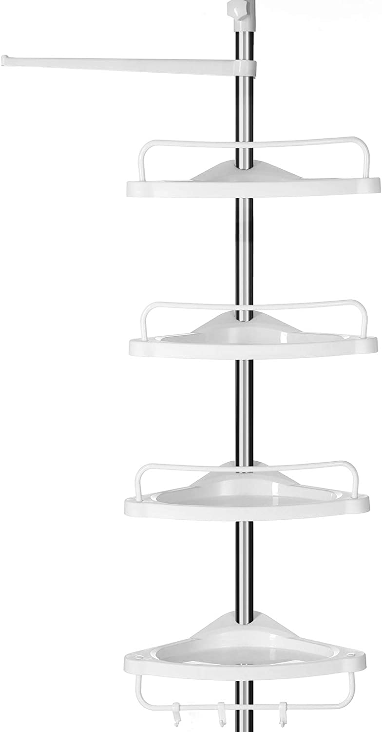 SONGMICS Adjustable Bathroom Corner Shelf, Telescopic Shower Caddy, 95-300 cm, Floor to Ceiling, with Stainless Steel Frame, 4 Trays, 3 Hooks, 1 Towel Bar, White and Silver BCB02SW
