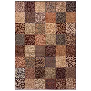 Shaw Living Inspired Designs 5-Foot 5-Inch by 7-Foot 8-Inch Rug in Paisley Block, Light Multi